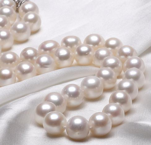 Wholesale 10-11mm natural white pearl necklace 925 silver Accessories 18inch Beaded Necklaces qhzz0019