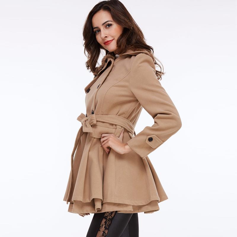 الجملة- Sisjuly النساء الشتاء الخريف خندق معطف الصوف معطف مزدوجة الصدر طويل الأكمام حزام أحمر ضئيلة المرأة خاكي خندق معطف