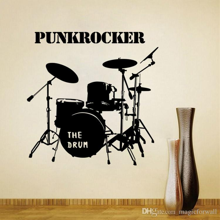 Drum Set Wall Graphic Decal musical instruments sticker living room sofa background wallpaper fashion decoration
