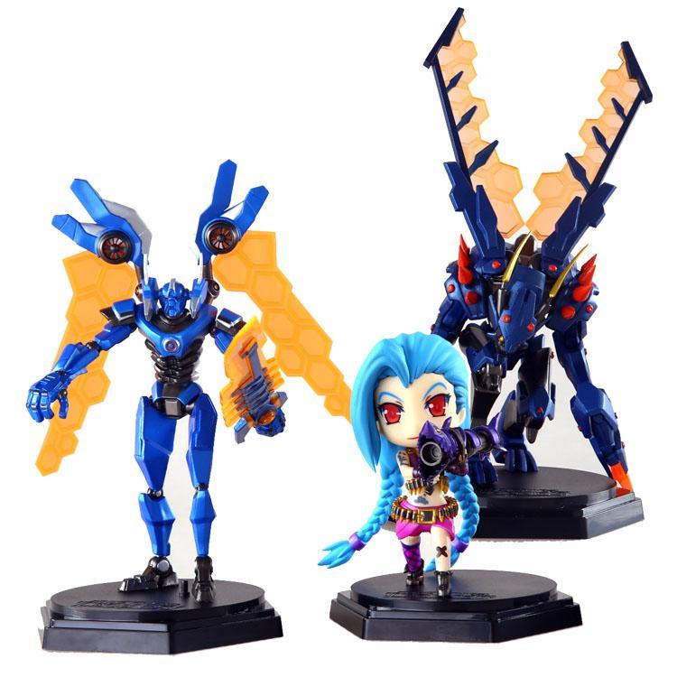 Prettybaby LOL 12cm 3 pcs set cute action figures 3th generation league of legends Collectible PVC plastic toys Khazix Jinx Aatrox Pt0251#