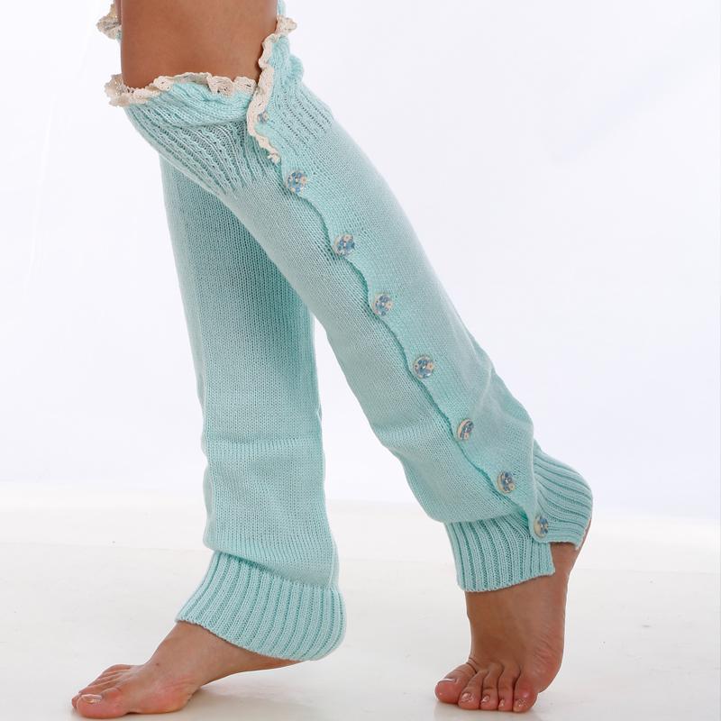 Calentadores de piernas para mujeres Botones de colores Calcetines de inicio Patrones verticales Calentadores de piernas para mujeres