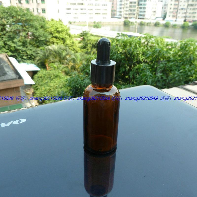 갈색 / 호박색 유리 에센셜 오일 병 30ml 알루미늄 광택있는 검은 점적 캡. 오일 바이알, 에센셜 오일 용기