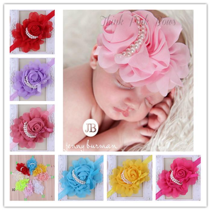 (20pcs/lot)Baby Flower Headbands Girl Rose Flower hairbands Children Hair Accessories infant Pearl Flower Hair Bow Headbands 14colors