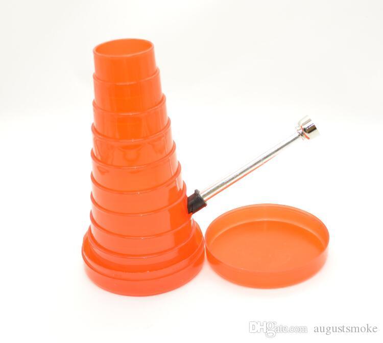 flexible Water Pipeplastic stretch tower shape water smoking pipe shisha hookah herb grinder rolling machine grinder glass bong