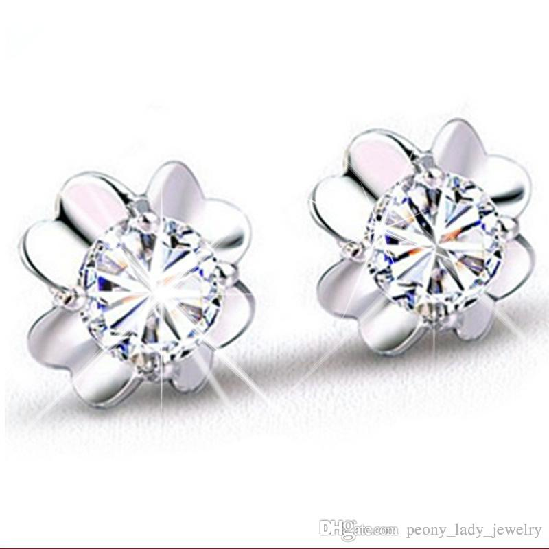 Hot romantic charm simple crystal pure clear clover earrings 925 sterling jewelry