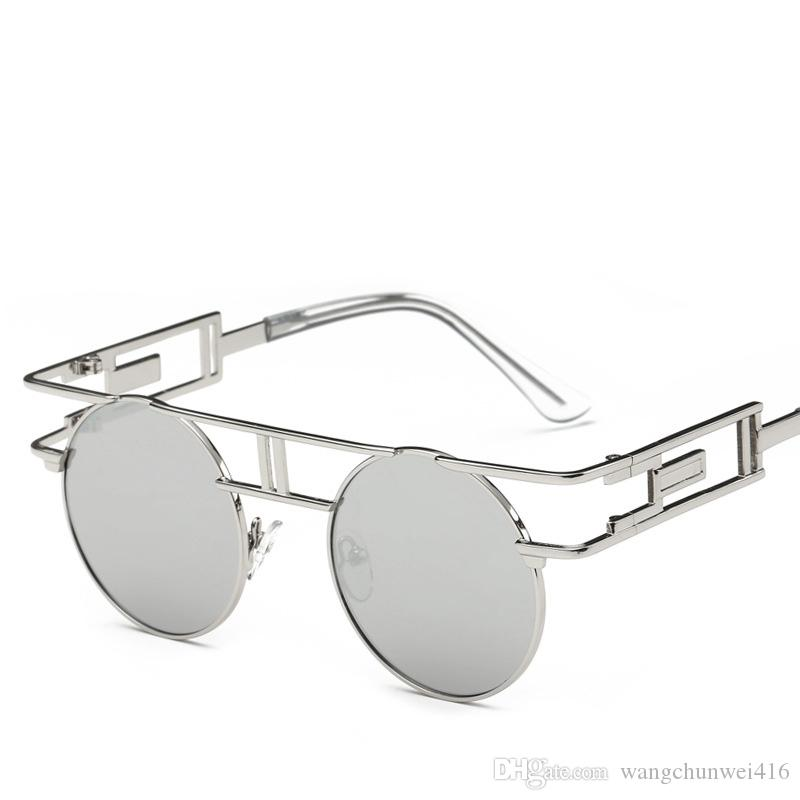 New oversized sunglasses round sunglasses color metal glasses personality European and American style glasses wholesale 12 color