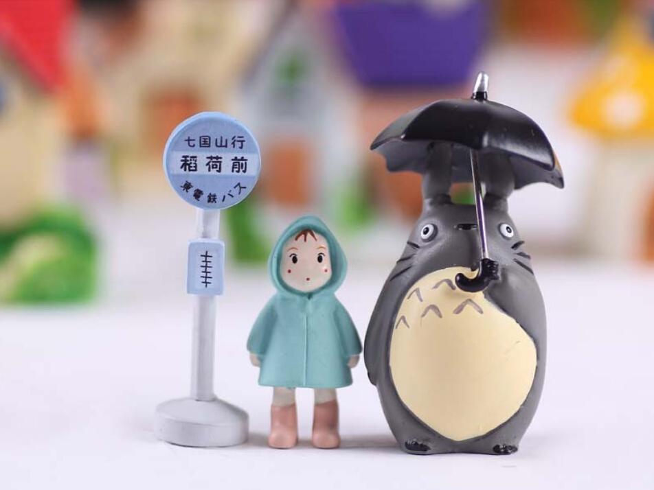 3 szt / lot Totoro Hayao Miyazaki Classic Style Micro Landscape Garden Doniczkowe sukulety Lalki Parasol Raincoat Xiaomei