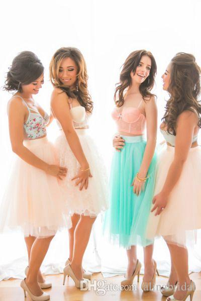 Mulity Color MInt Green Tutu Bridesmaid Skirts Dresses A Line Knee Length Sheer Tulle Women Dress 2016 Short Wedding Party Gowns