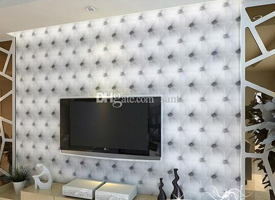 Moda Sıcak 10 Metre / lot Faux Deri Yumuşak Çanta 3D Duvar Kağıdı PVC Beyaz Başucu Kanepe TV Arka Plan Duvar Kağıdı Papel de Parede