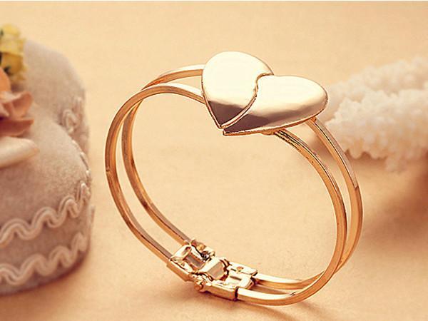 """Moda Feminina atacado Elegante geado em forma de coração pulseira jóias Coreano 'Heart dependent """"pulseira de Casamento jóias frete grátis"""