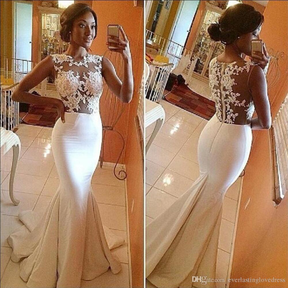 Neue Auflistung Glamouröse weiße Trompete Spitze Plus Größe Brautkleider mit Applikationen Sehen Sie durch Rückzug formale Brautkleider