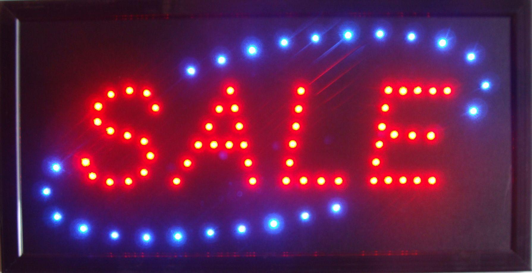 Горячие продажа пользовательские неоновые продажи магазин знак LED продажа знак Афиша полу-открытый размер 10 * 19 дюймов бесплатная доставка