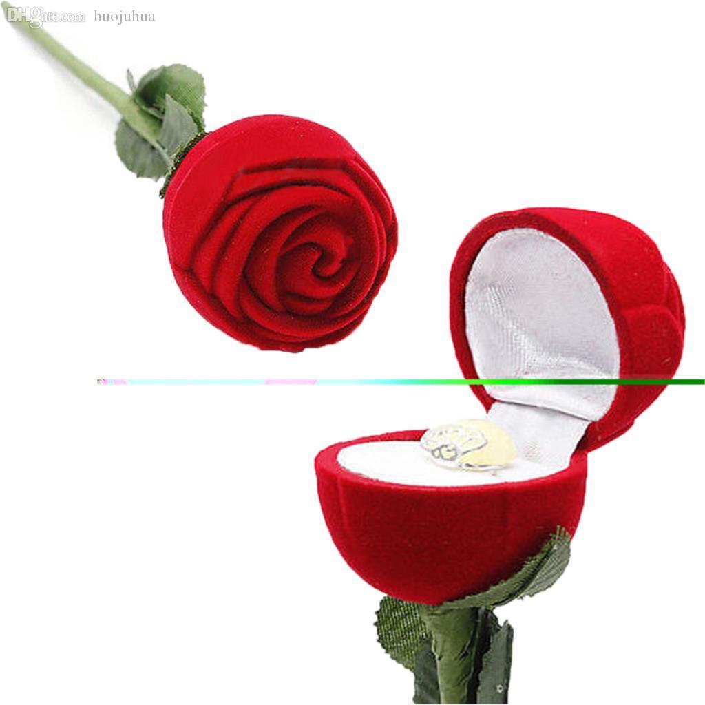 Fournitures de fête en gros-Hot Heat Fashion Rose Rose Fleur Bijoux Bague Bague Bague Boucles d'oreilles Pendentif Boîte De Mariage Décoration Dropshipping Haute Qualité usine