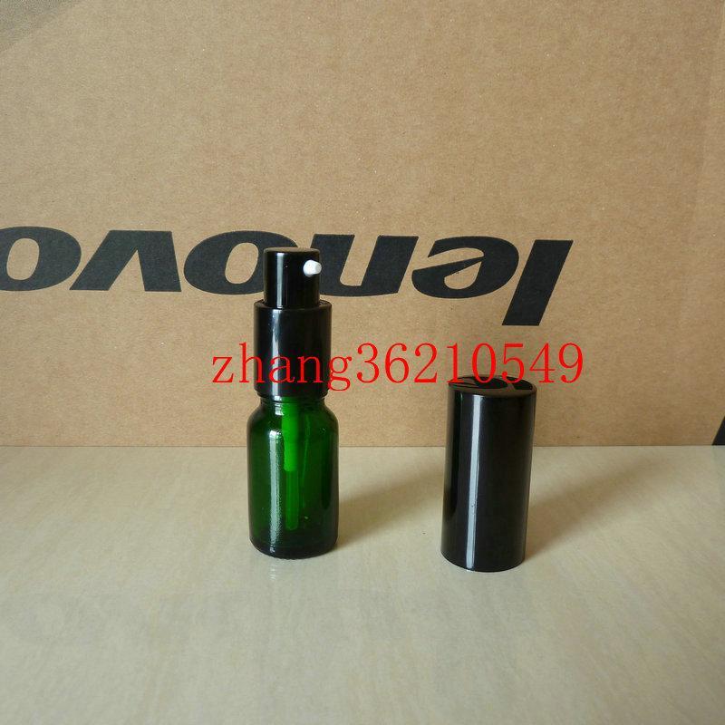 10ml 녹색 유리 로션 병 알루미늄 반짝 이는 검은 pump.for 로션과 에센셜 오일. 로션 크림 용기