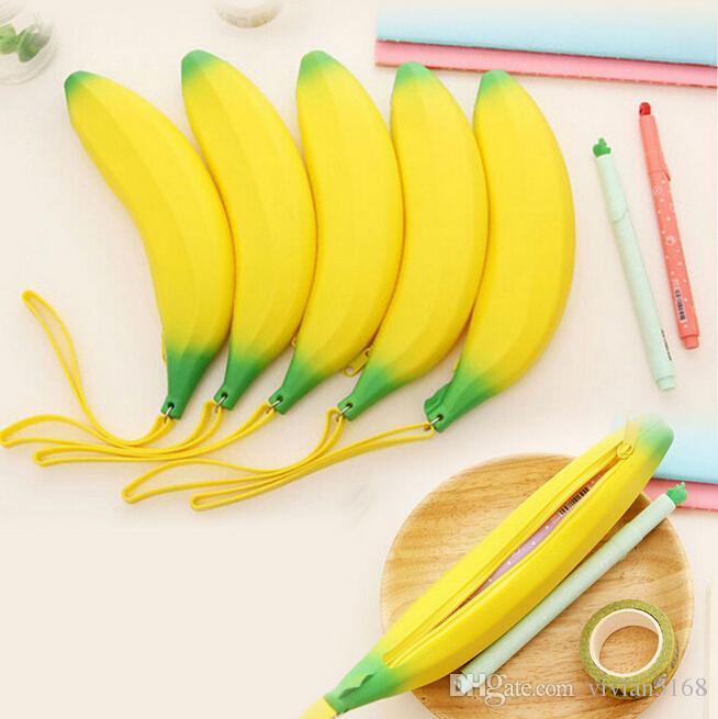 Novelty Silicone Portable Banana Coin Pencil Case Purse Bag Wallet Pouch Keyring Fruit zero wallet ego zipper case gift Free Shipping