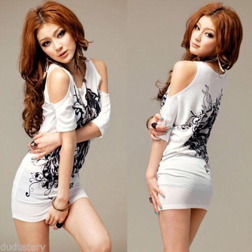 女性のインクフローラルオフショルダーカジュアルTシャツ半袖ロングトップミニドレス#R592