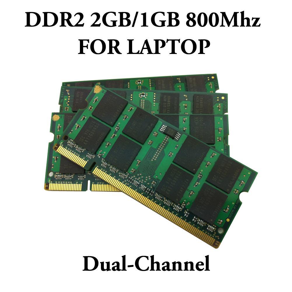 Nova Alta Qualidade RAM DDR2 2 GB 1 GB DDR 2 PC2-6400 PC2-5300 800 MHz / 667 Mhz / 533 Mhz Para Lenovo HP DELL laptop notebook Memória RAM Dual Channel
