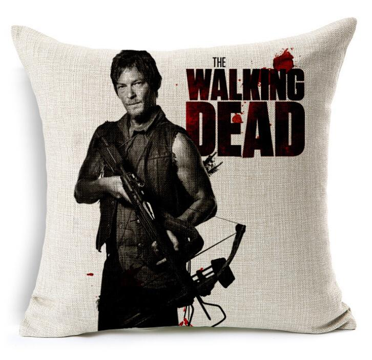 Walking Dead Printed Cotton Linen Cushion Cover Home Decorative Pillow Case