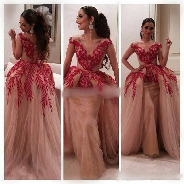 Myriam Tarieven Jurken Celebrity Jurken Baljurk Korte Mouw V-hals Rode Kant Sequin Naakt Tulle Dames Arabische Prom Formele Avondjurken