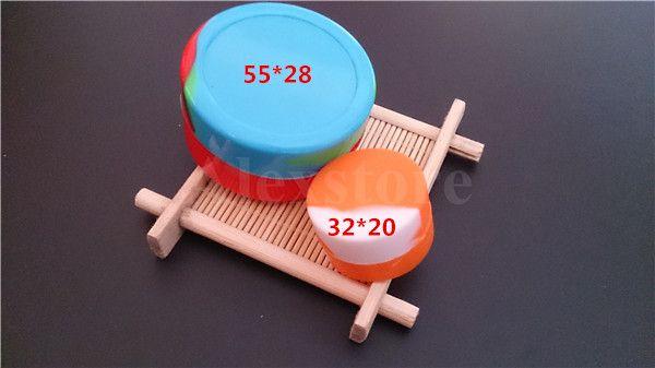 非粘着性の大きなワックスのコンテナのシリコーンボックスシリコン容器Dabber 55 * 28mm 22mlの食品グレードのワックス瓶のためのDab貯蔵ゴムFDA承認されたDHL