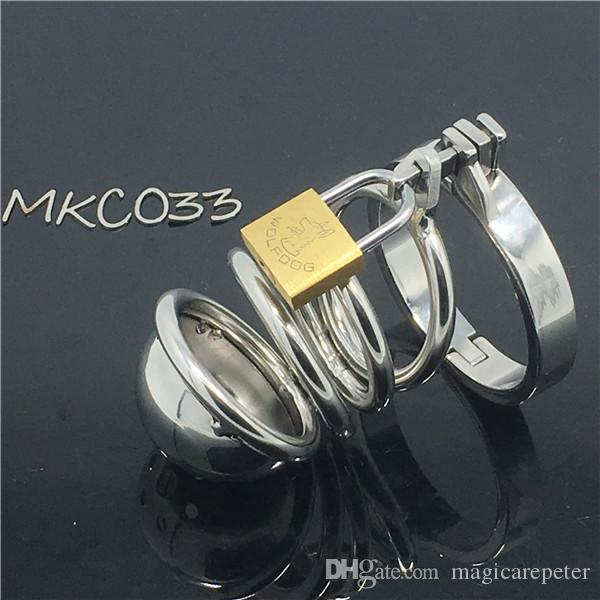 Dispositivo de castidade de Metal em aço inoxidável gaiola Galo MKC033 Penis manga bondage fetiche brinquedos sexuais para o sexo masculino