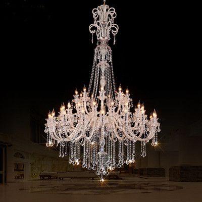 45-arm Church chandelier Crystal lighting Led candle extra large modern crystal chandelier hotel hall Led chandelier lustres de cristal