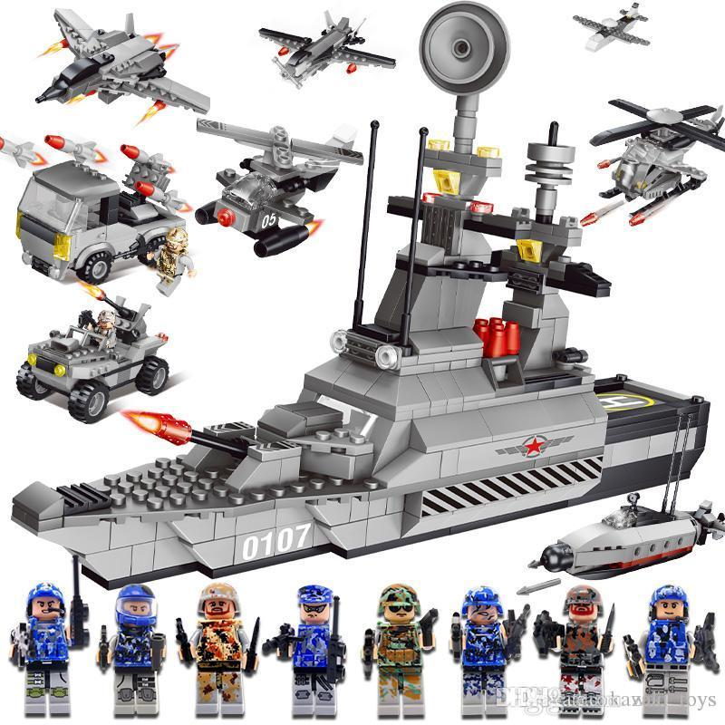 New Military Blocks Fancy Toy Mini Building Block Figures Aircraft Carrier Model Playmobil Toys For Children Assembles Baby Toys Kids Gift