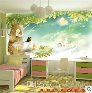Ny kan skräddarsy stor 3d väggmålning konst tapet hem dekor personlighet visuell, baby barn sovrum sittande tecknad vägg klistermärken drömvärld