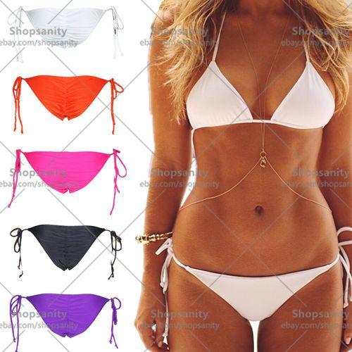 w1028 New Womens String Scrunch Cheeky Tie Side Brief Brazilian Swimwear Bikini Bottom