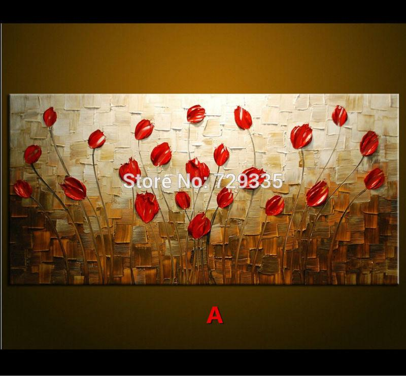Best Hand Made Oil Painting Palette Knife Thick Paint Red Flowers Modern Home Art Canvas Wall Living Room Decor Picture Under 4071