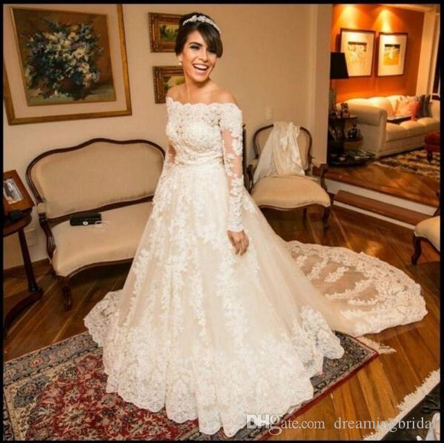Nach Maß Long Sleeve Brautkleider Schulterfrei Lace 2017 New Wedding Dress Türkei Appliques Sweep Strain Braut Kleid