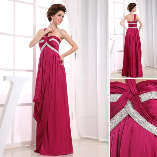 Custom Made Chic One Shoulder Sweetheart Tiered Chiffon Sequins ...