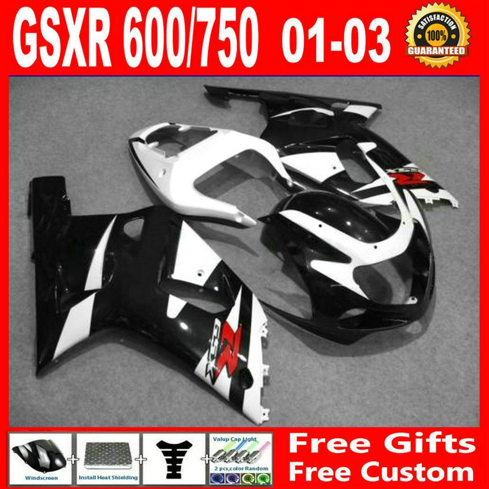 2001 년 2002 년에 검은 흰색 공동 키트 2002 2003 Suzuki GSXR 600 페어링 GSXR 750 K1 GSXR600 GSXR750 01 02 03 완전 페어링 키트