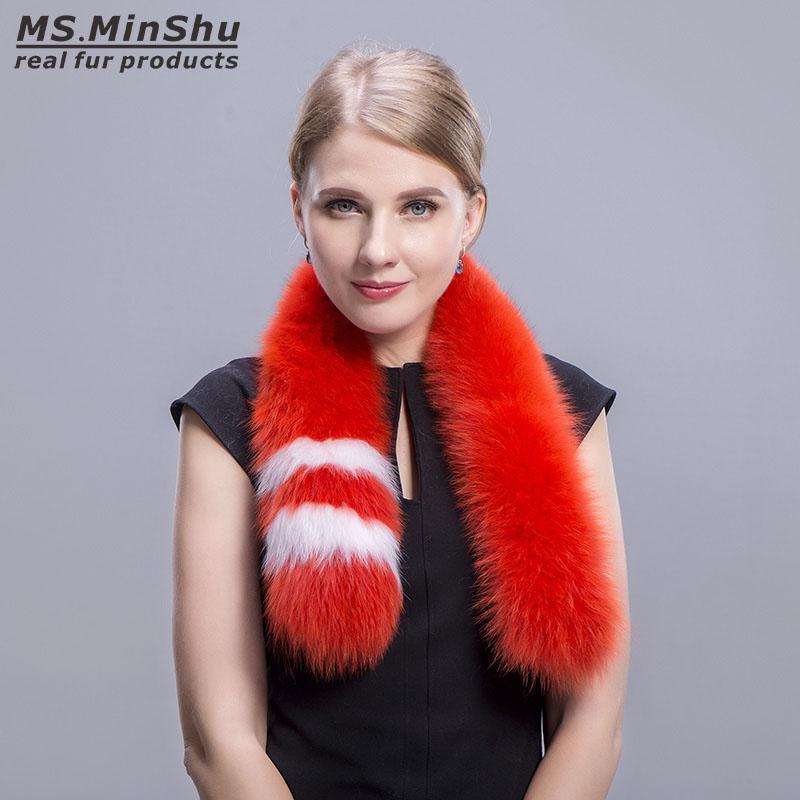 Fashion Fox Fur Collar Genuine Genuine Fox Fur Collar Scarf Winter Fox Scialle Reale Sciarpe di pelliccia per le donne Ms.MinShu Brand