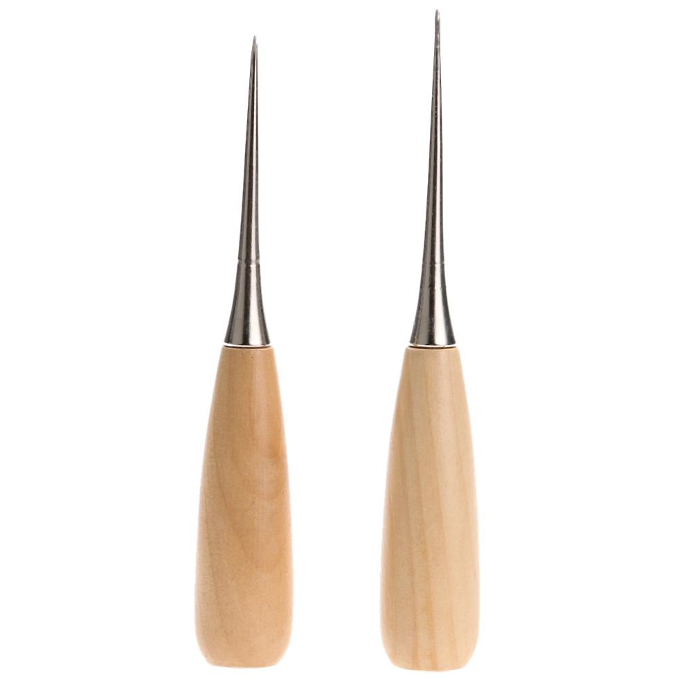 2019 Professional Leather Sewing Awl Wooden Handle Sewing Awl Stitcher  Needle Kit Tool For Leathercraft Stitching Sewing Tools From Chenbinfeng,