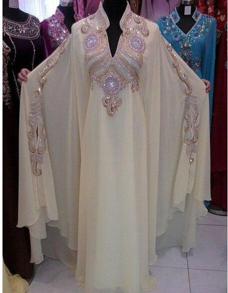 2018 Kaftan Dubai Abiye Vestido De Festfancy Farasha Abaya Jalabiya İslam Kristal Uzun Kollu Arapça Örgün Gelinlik Modelleri