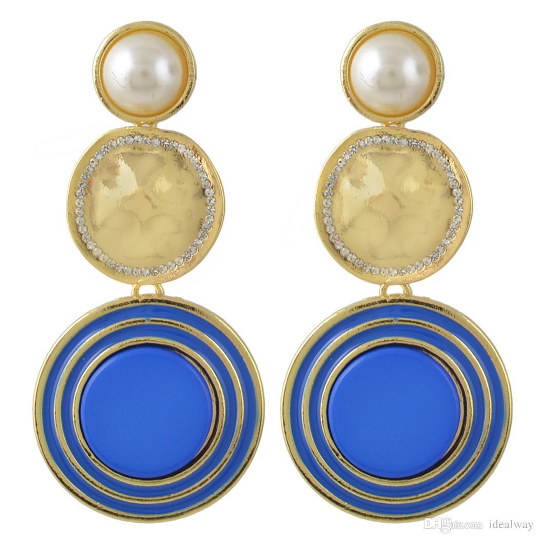 idealway 6 couleurs plaquées or émail ronde perle strass Boucles d'oreilles à Accessoires de bijoux pour les femmes