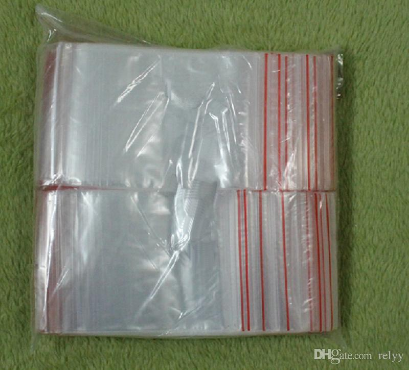 2000 قطعة / مجموعة كيس pe شفافة من أكياس التعبئة والتغليف يمكن إعادة استخدام حجم 100x71mm، 110x80mm، 118x89mm