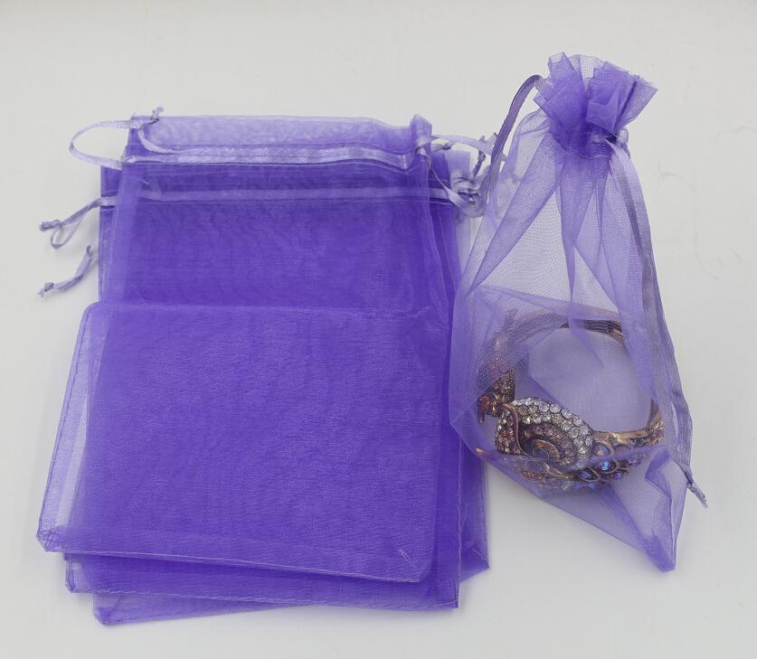 Vendita calda! 100pcs sacchetti del sacchetto del regalo dei monili del organza viola chiaro per i favori di nozze, i branelli, i monili 7x9cm. 9X11cm .Etc.