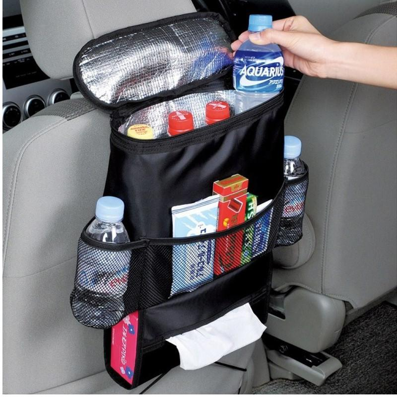 Car Auto Vehicle Seat Chair Back Foldable Organizer Punch Multi-pocket Holder Hanging travel Storage Cooler and Insulated Bag