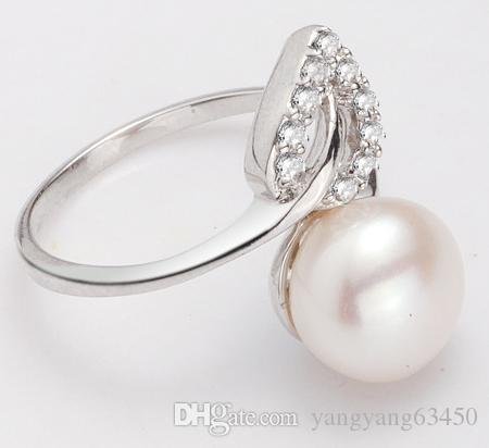 Hot sale 8-9mm adjustable leaf-shaped natural pearl ring 925 silver inlay zircon