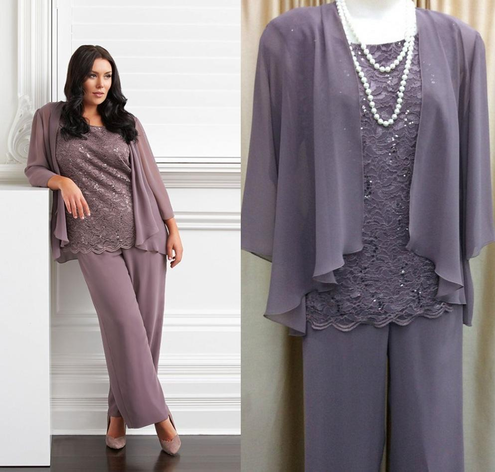 Three-Pieces Mother of the Bride Pant Suits with Trousers Pants ...