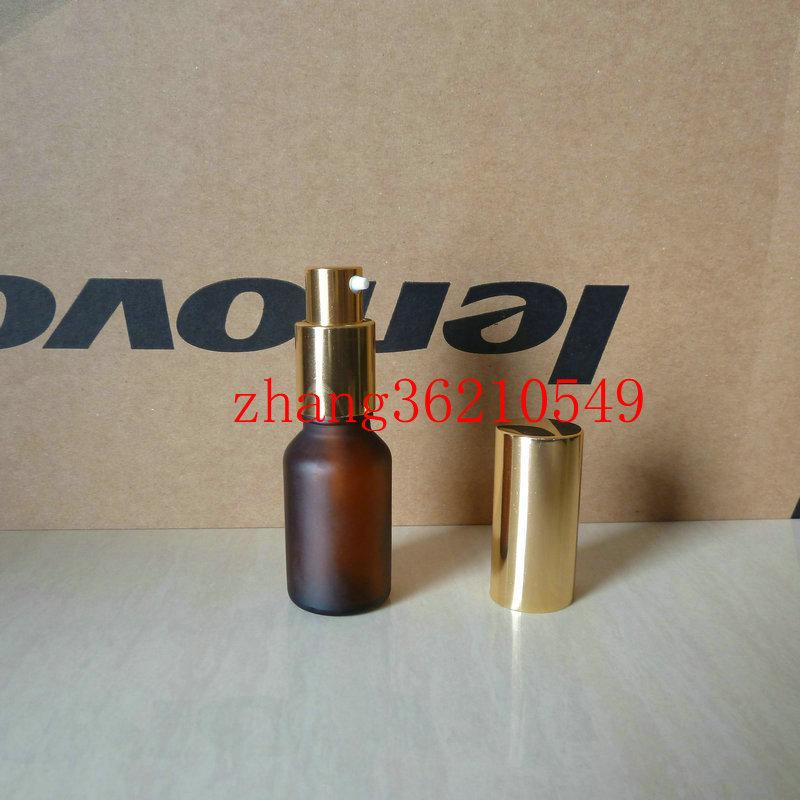 15ml 갈색 / 호박 젖빛 유리 로션 병 알루미늄 반짝 이는 골드 pump.for 로션과 에센셜 오일. 로션 크림 용기