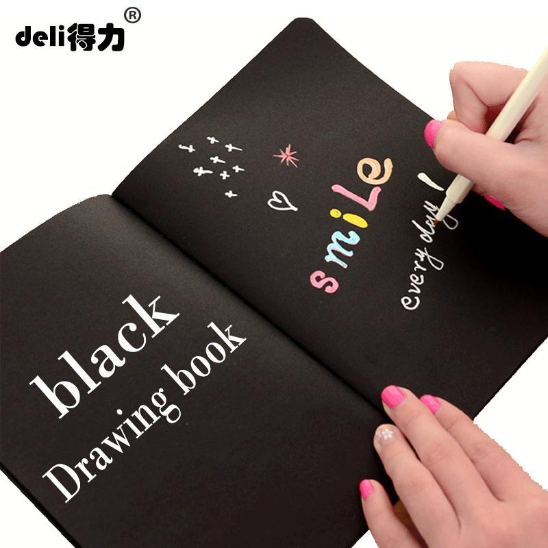 Deli A4 A5 siyah Kroki siyah kağıt Kırtasiye Not Defteri Eskiz Defteri Boyama Çizim Günlüğü Dergisi Için Yaratıcı Dizüstü Hediye
