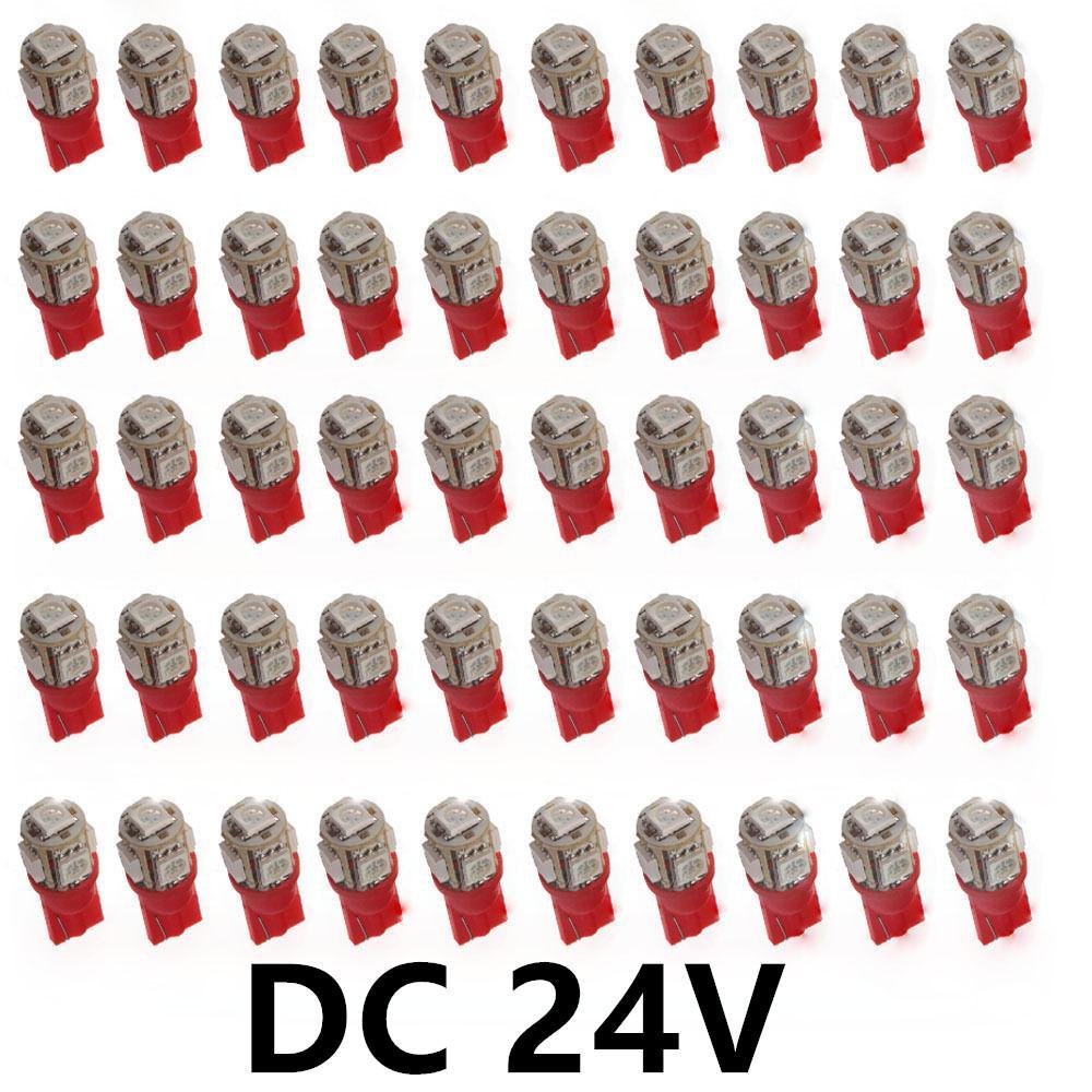 100Pcs Dc 24V LED Red T10 W5W 5-SMD 5050 194 168 2825 Wedge LED Car Lights Bulbs Dashboard Interior Lamps side lights footwell 24V