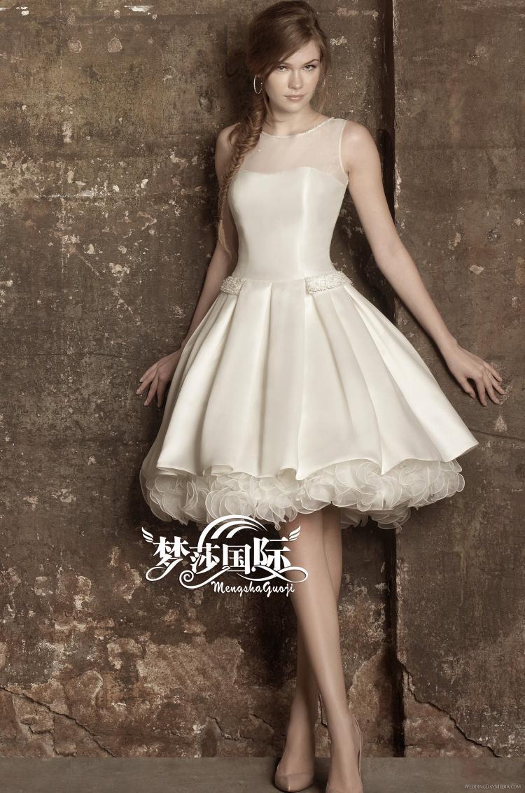Discount E65 Fashionable Of Bride Organza Ruffles Knee Length Short ...