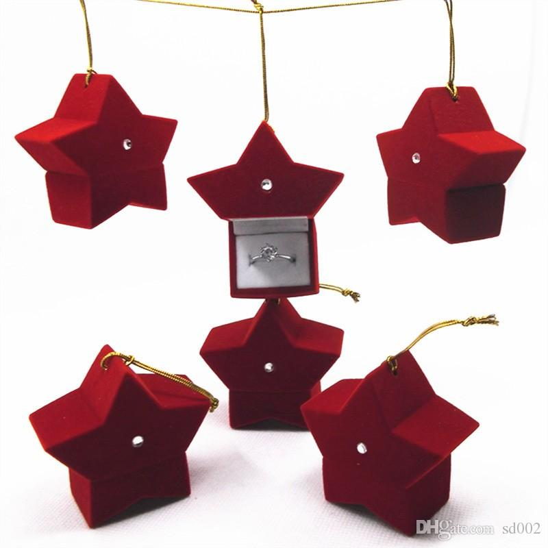 Christmas Gift Boxes Five Pointed Star Red Portable Ring Ear Nail Box Packing Organizer High Quality 2 9zr BW