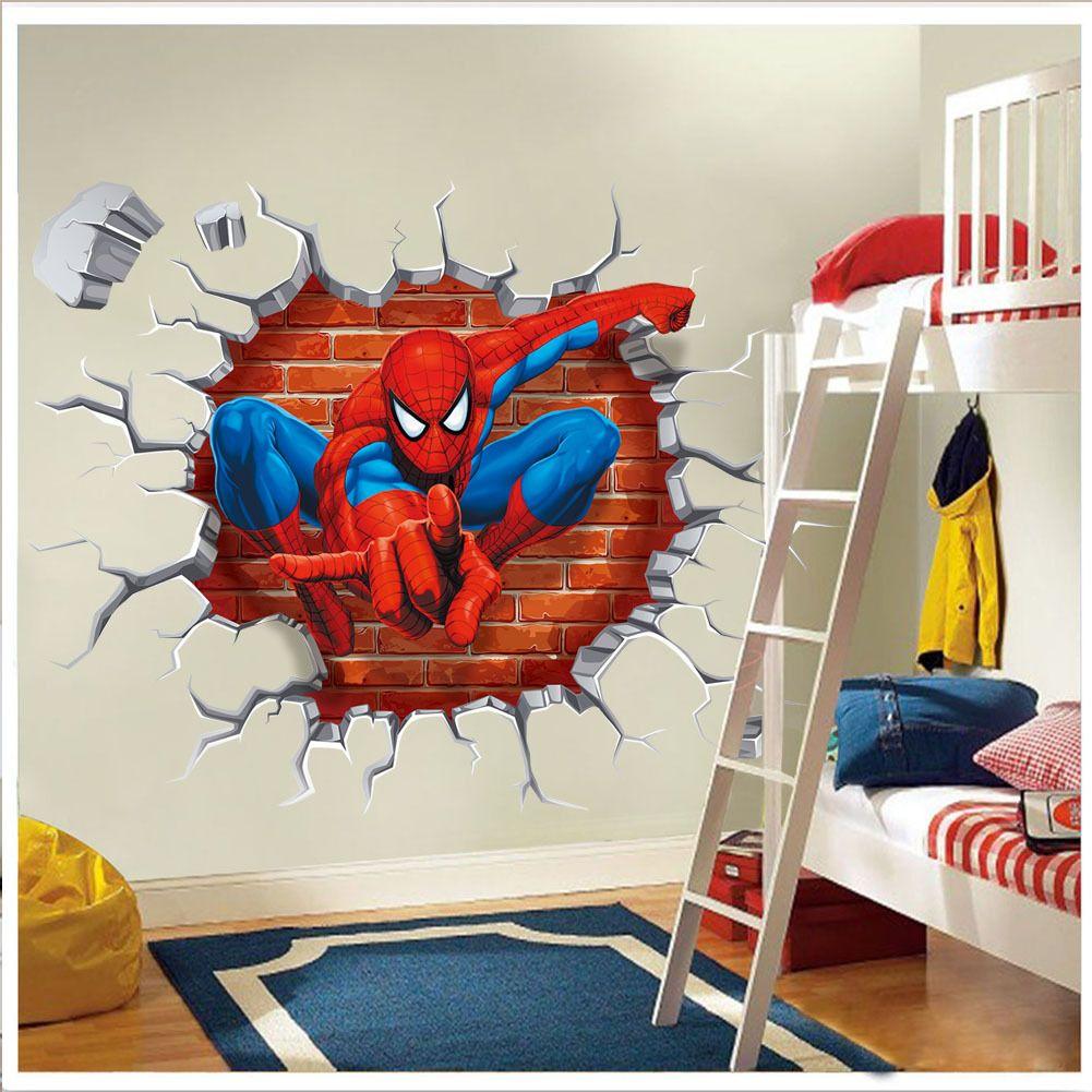 Removable wall art graphic -  3d Spiderman Break Through The Wall Art Mural Decor Sticker Kids Boys Girls Room Wall Decal
