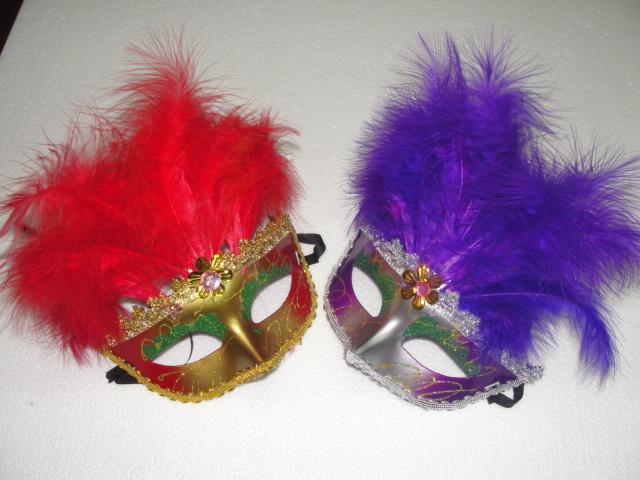 15pcs / lot 하프 페이스 베네 치안 마스크 아름다운 깃털로 마디 그라 Masquerade Halloween Costume Party MASKS
