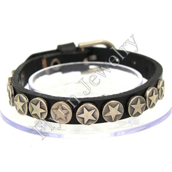 The Star Button Accessories Watch band Design Adjustable Leather Charm Bracelet Bangle Punk Rock Decorations Amulet Jewelry 10Pcs